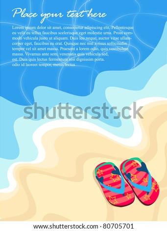 Vector beach illustration with flops on sand - stock vector