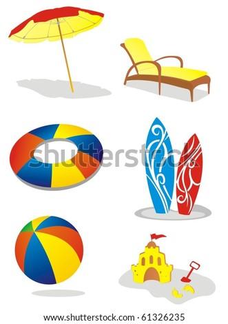 vector beach item set