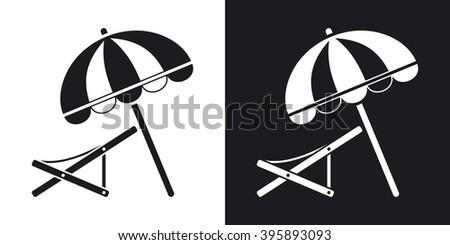vector beach umbrella and deck