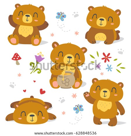 vector bear cartoon spring