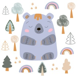 Vector bear in scandinavian style on a white background. Hand drow. Cartoon. Clip art. Stock illustration.