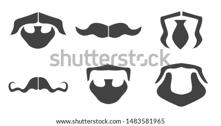 Vector beards and mustaches. Face constructor elements. Black illustrations on white background. Beards and mustaches icons set.