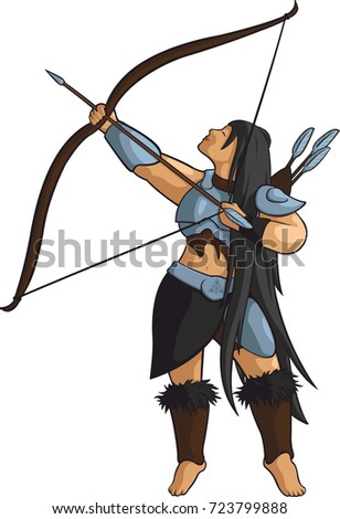 Stock Photo Vector beautiful archer with longbow.