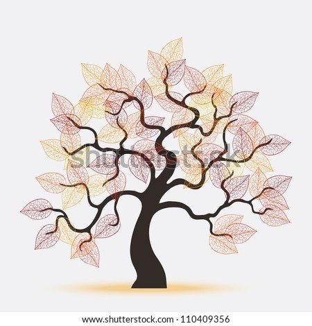 vector beautiful autumnal tree
