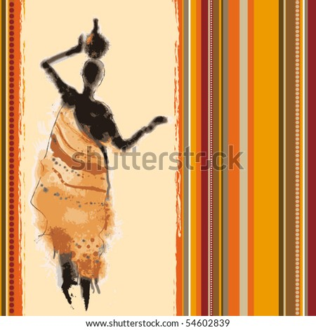 vector beautiful background with illustrated abstract African woman