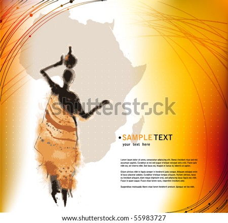 vector beautiful background with illustrated abstract African woman and Africa map