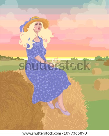 vector beautiful blond girl in