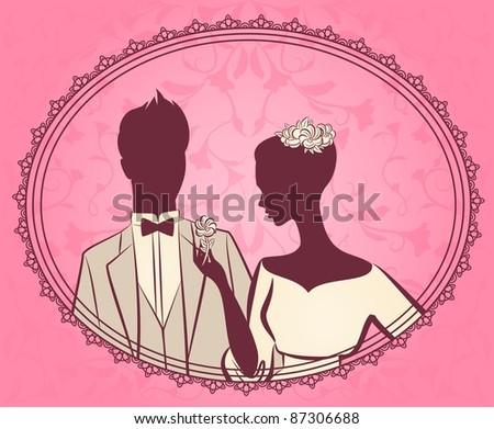 Vector beautiful bride and groom