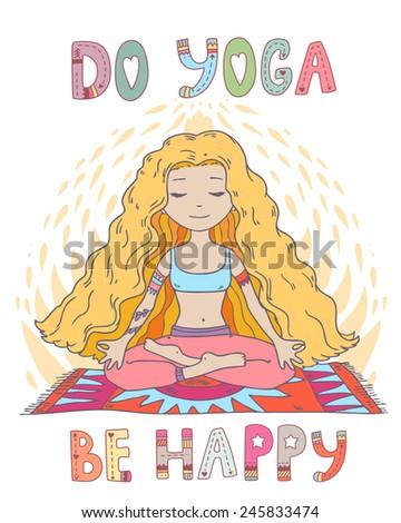 vector beautiful cartoon yoga