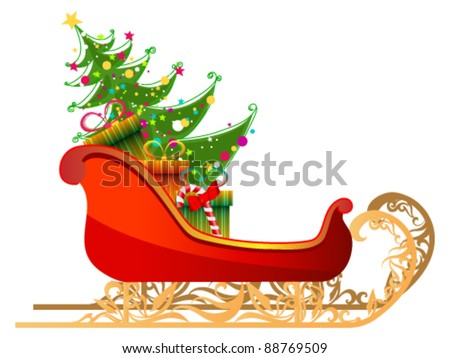 Vector beautiful cute detailed illustration of Santa's sleigh with gifts and Christmas tree