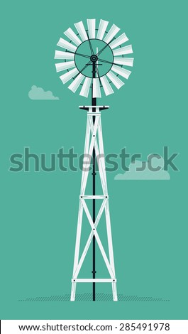 Vector beautiful detailed agricultural design element on retro water pump windmill tower. Ideal for organic and craft farming and grocery promotion materials like posters and other prints