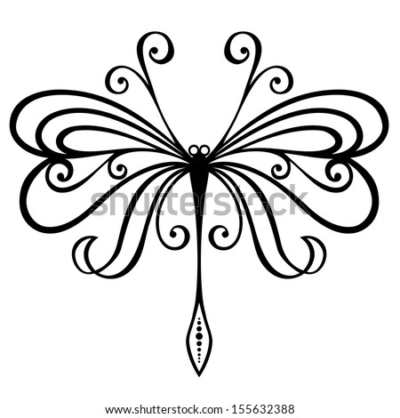 Small Dragonfly Drawing Vector Beautiful Dragonfly