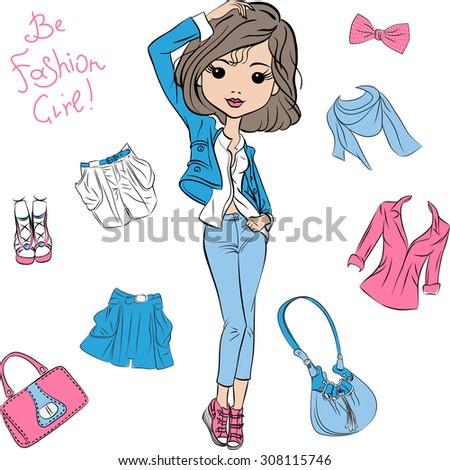 vector beautiful fashion girl