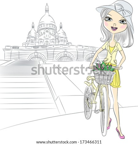 Vector Beautiful fashion girl with a flowers on a bike in front of Sacre Coeur in Paris