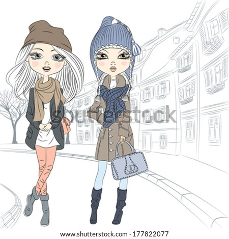 Vector Beautiful fashion girls in winter