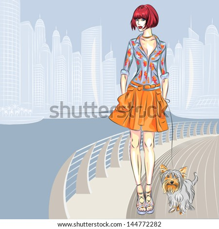 vector beautiful fashion girls
