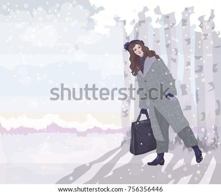 vector beautiful girl in a coat