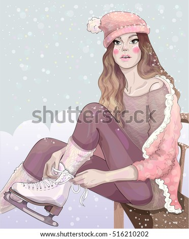 vector beautiful girl in a pink