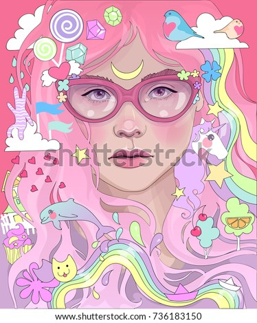 vector beautiful girl with pink
