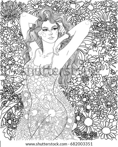 vector beautiful girl with