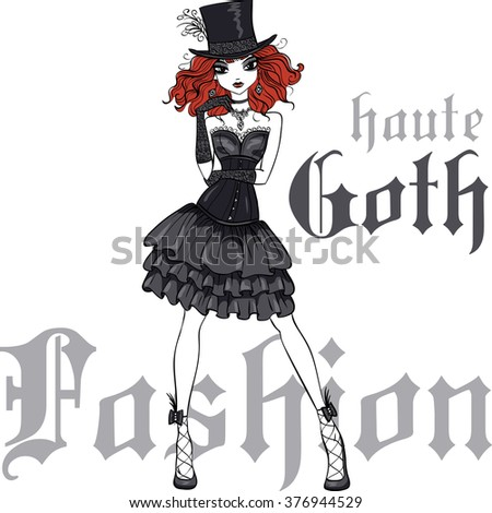 vector beautiful goth girl with