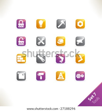 Vector beautiful icon set. Part 7 - Tools - stock vector