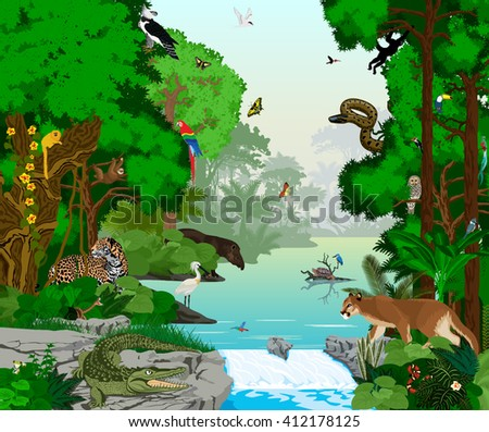 vector beautiful lake in jungle