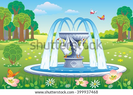 vector beautiful landscape with