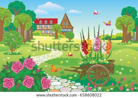 vector beautiful landscaped