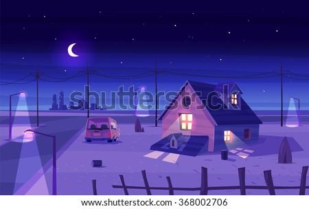 vector beautiful moonlight over
