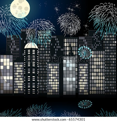 Vector beautiful New Year's cityscape