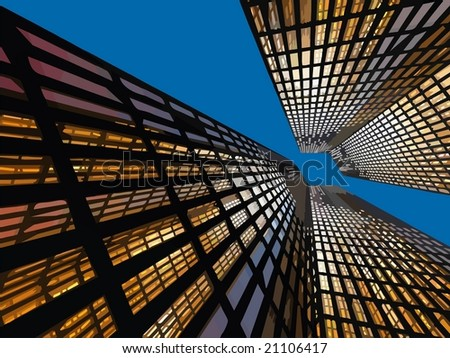VECTOR: Beautiful office building - Background color can be changed.