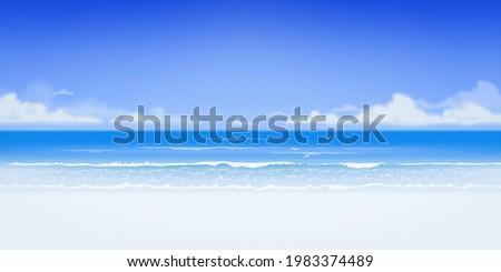 Vector beautiful realistic illustration of sandy summer beach. Summer holidays banner design template Stock photo ©