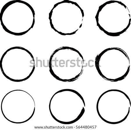 Vector beautiful round handmade black strokes.