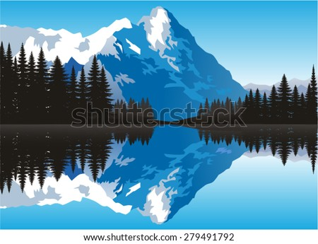 vector beautiful snow capped