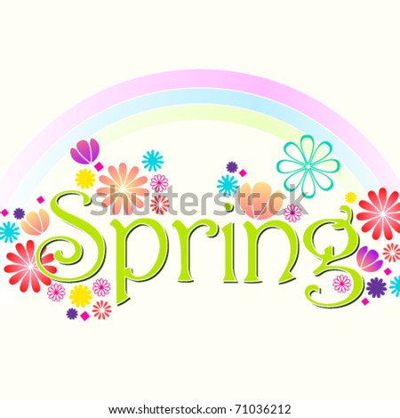 Vector beautiful spring floral text background illustration