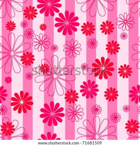 Vector beautiful spring flowers seamless background illustration