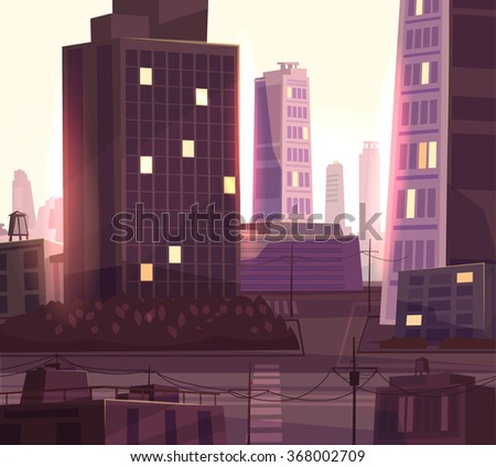 vector beautiful sunset over...