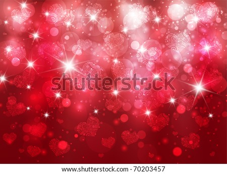Vector beautiful valentine background with hearts and sparks eps10