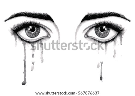 Vector beautiful watercolor illustration with crying eyes. Black illustration. Women's watery eyes. Eyes with flowing mascara on isolated background.