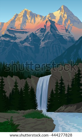 vector beautiful waterfall in