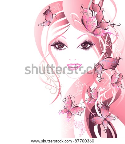 Vector Beautiful women with butterflies in hair