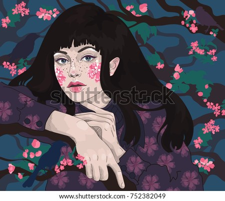 vector beautiful young brunette