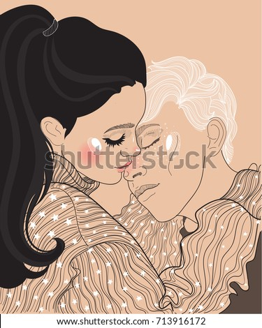 vector beautiful young couple
