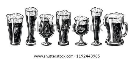 Vector beer glasses and mug. Hand drawn engraved vintage style. Black isolated sketch illustrations on white. Stock photo ©