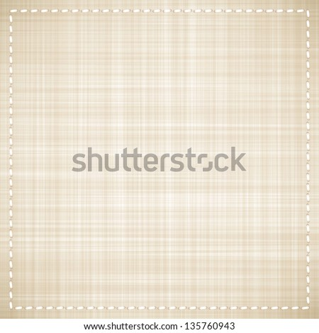 vector beige canvas texture with white thread
