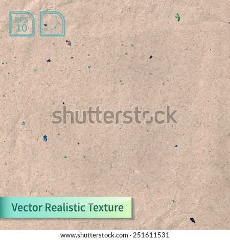 Vector beige rice paper photo texture. Background for your design. Craft crumpled recycled sheet of wrapping paper with wrinkles. #251611531
