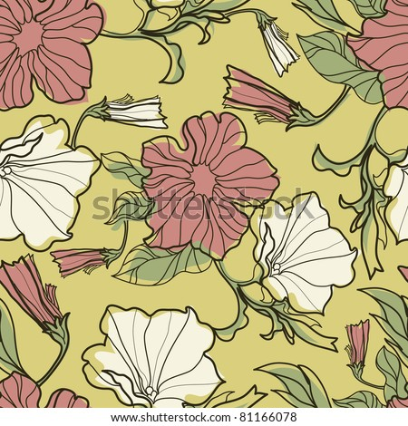 "Vector bell-flowers pattern (from my big ""Floral collection"")"