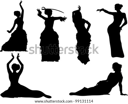 vector belly dancing black woman silhouette on white