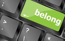 vector belong word on keyboard key, notebook computer button
